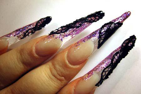 šumivé ostré akrylové nehty