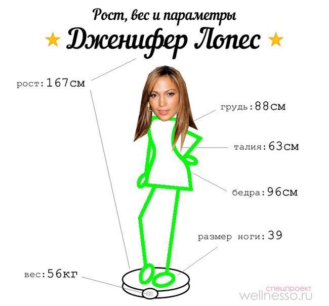 Jennifer Lopez - težina, visina i oblik parametri pjevača