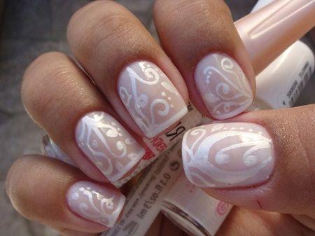 Svatební manikúra foto na krátké nehty