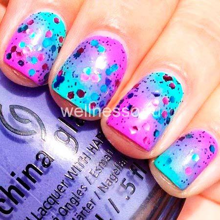 Ombre nehty na fialová a modrá s flitry fotka