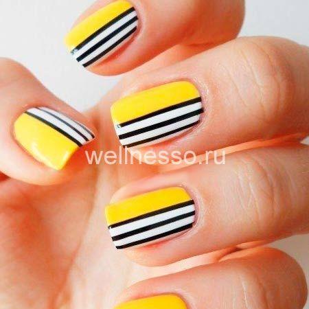 černé žluté pruhy na fotografii krátké nehty