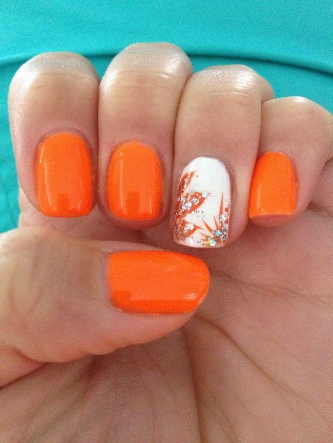 portocaliu manichiură