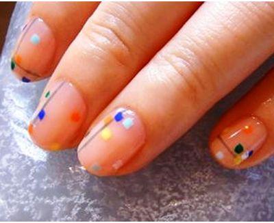 barevných čtverců-on-nehty
