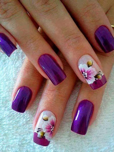 manikúra s květinami